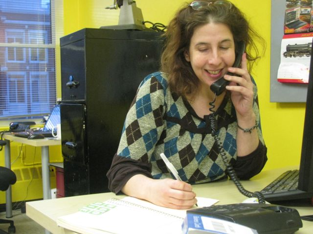 Maureen Marovitch researching for a script.